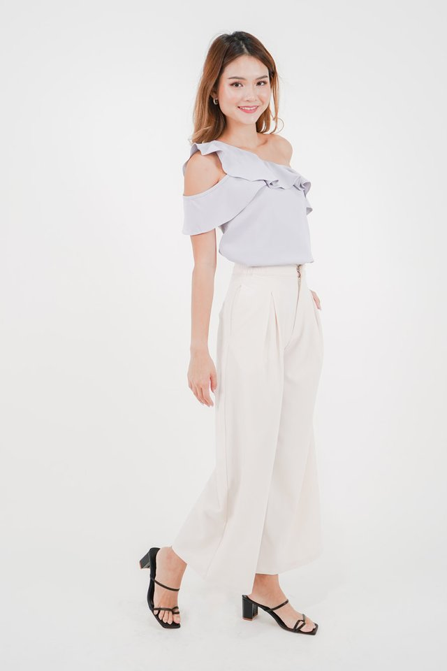 Ella Ruffles Top + Avery Pleated Pants (Periwinkle & Cream)