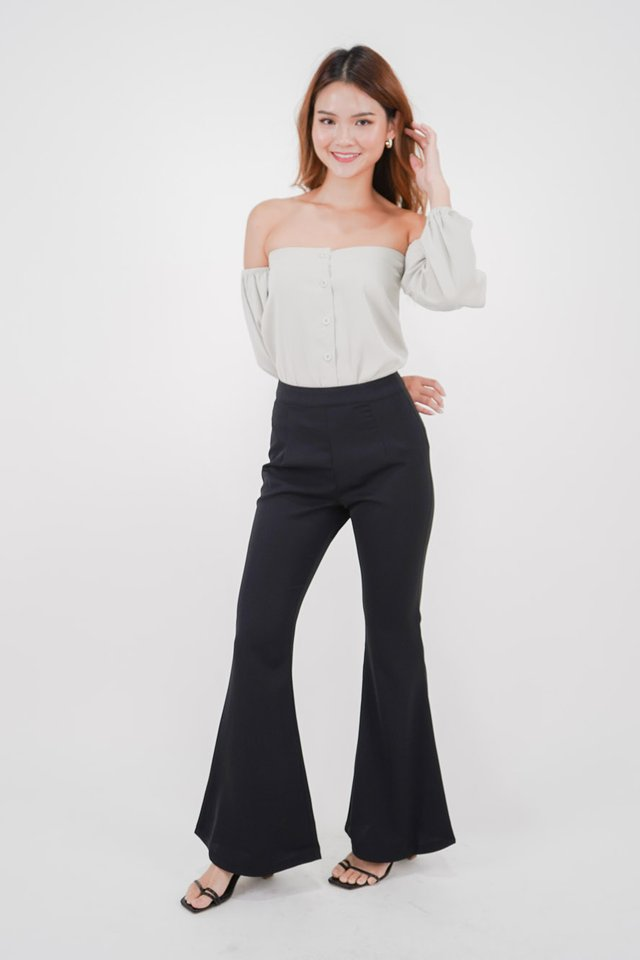 Greta Off-Shoulder Top + Ariel Flare Pants (Mint & Black)