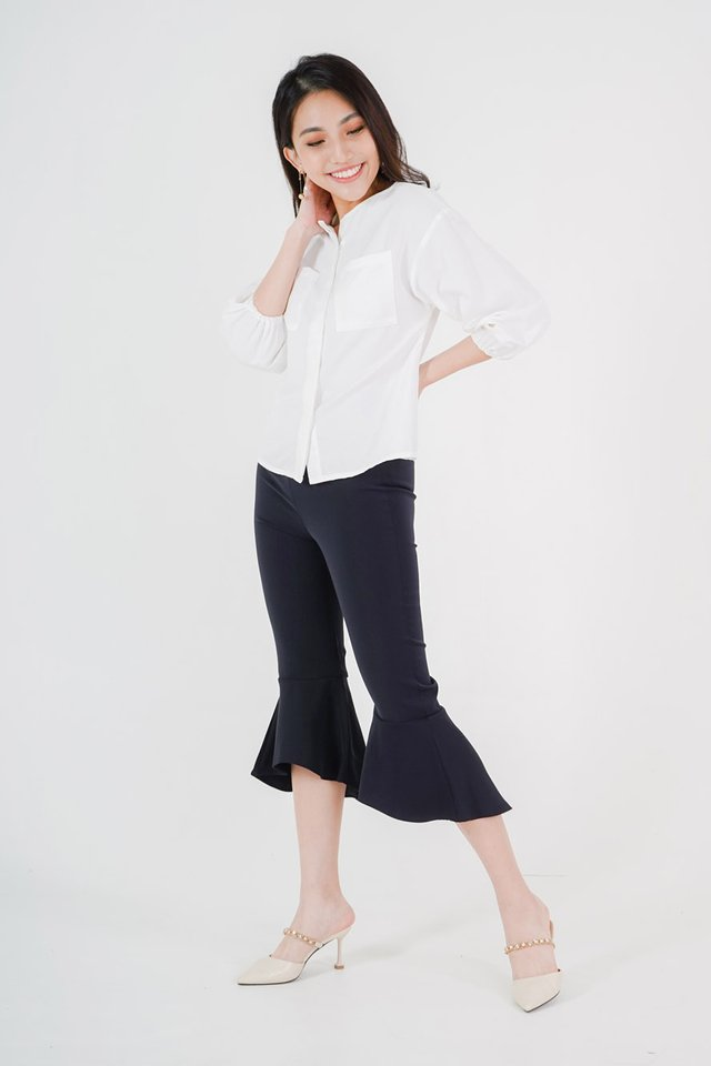 Clara Boxy Top + Jen Cropped Flare Pants (White & Navy)