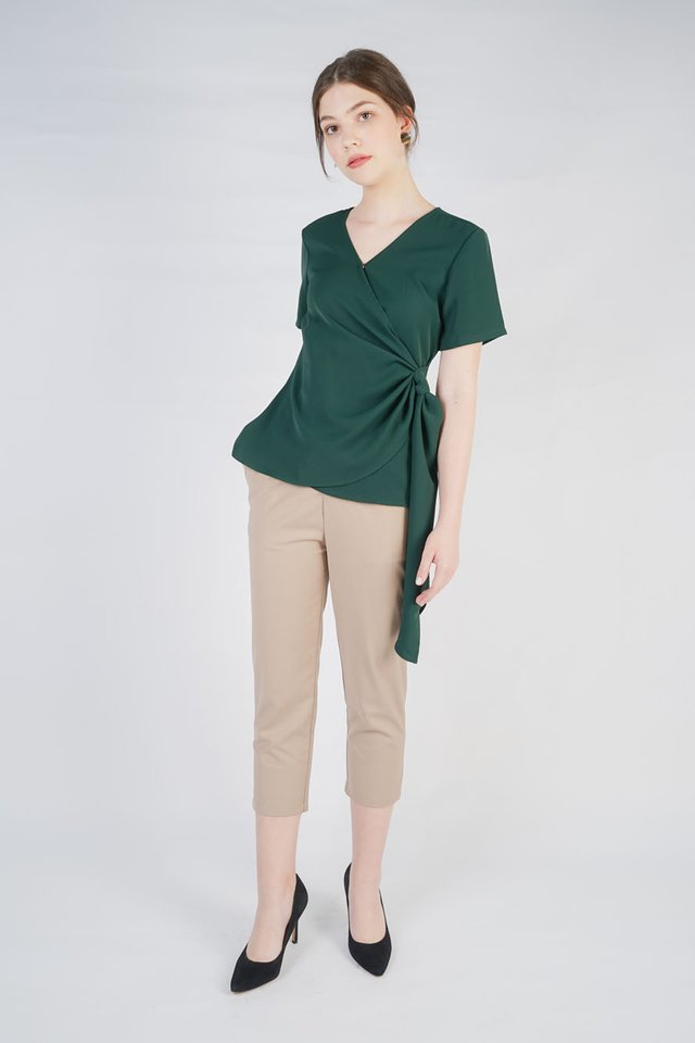 Sasha Wrap Top + Irene Tailored Pants (Emerald & Khaki)