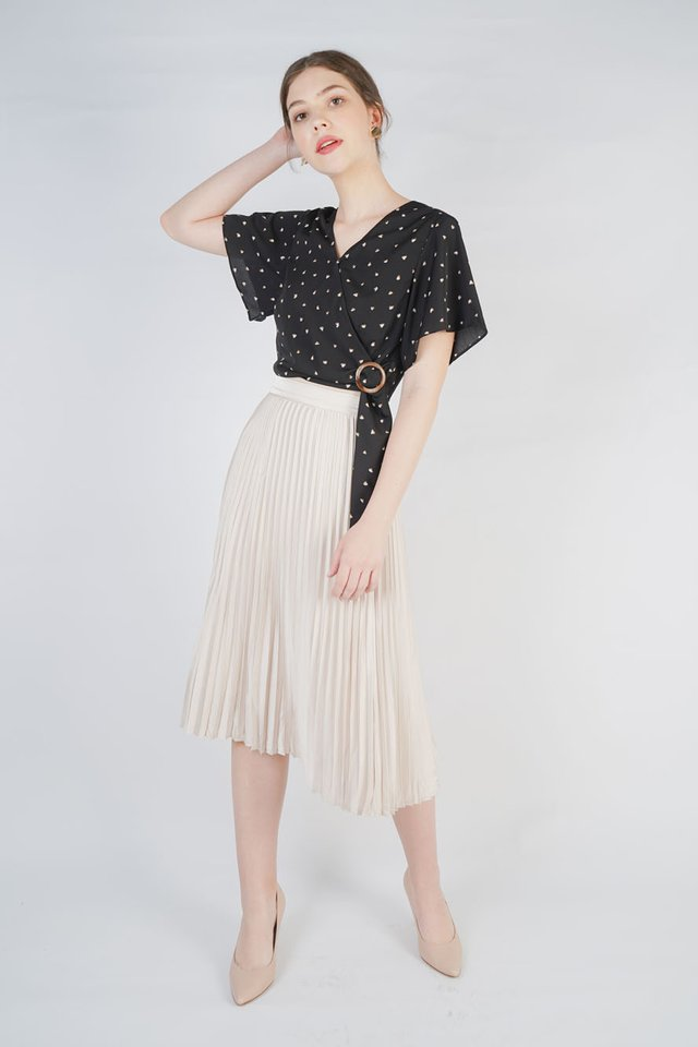 Xenia Crop Top + Tara Pleated Skirt (Black & Pearl)