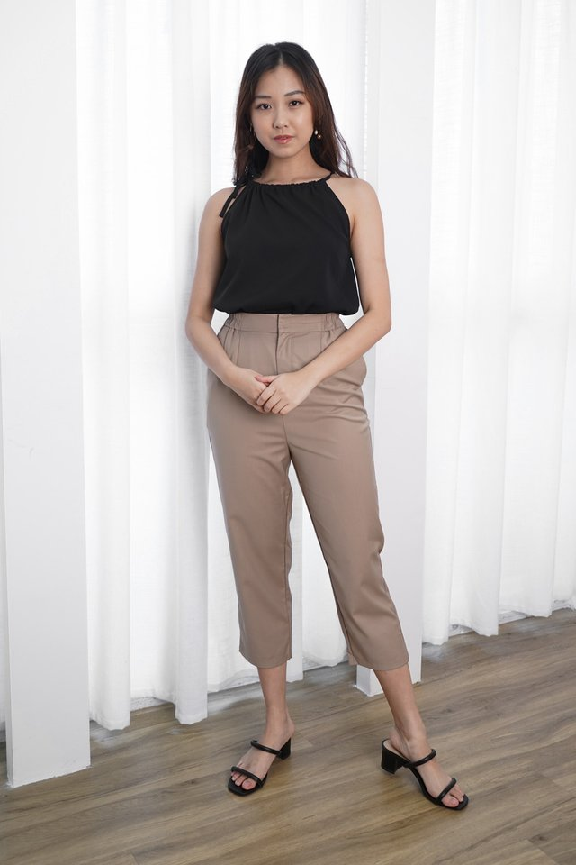Evelyn Halter Top + Irene Tailored Pants (Black & Khaki)