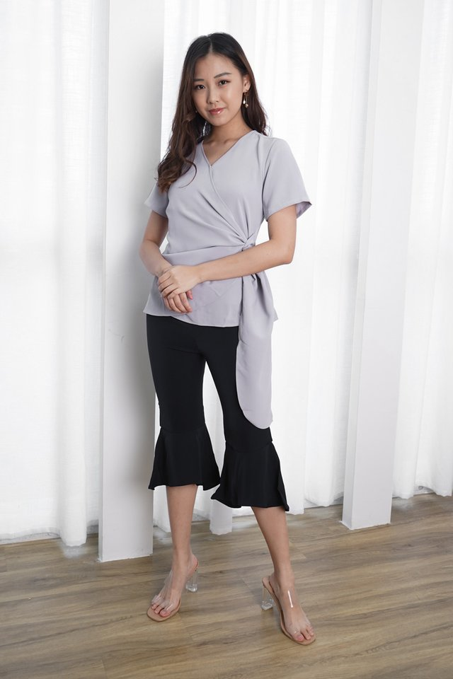 Sasha Wrap Top + Jen Cropped Flare Pants (Periwinkle & Navy)