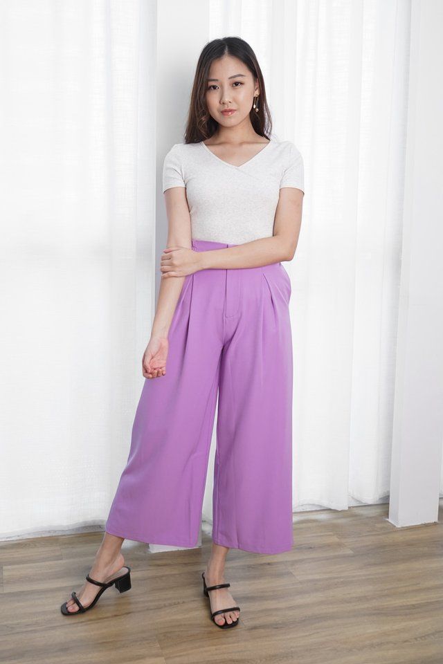 Suri Wrap Top + Avery Pleated Pants (Marble & Purple)